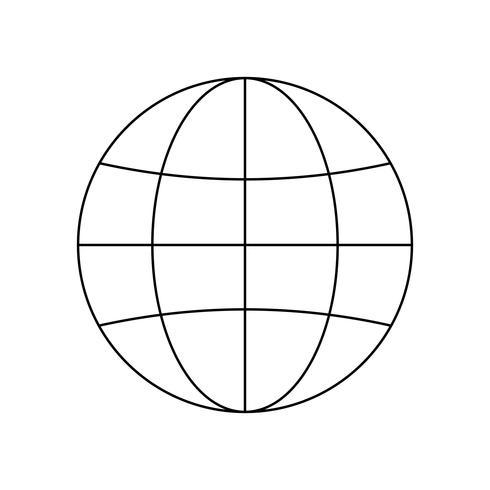 Icona della linea nera del globo vettore