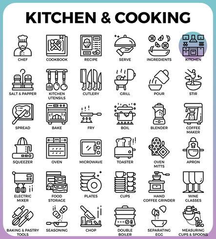 Cucina e icone di cottura vettore