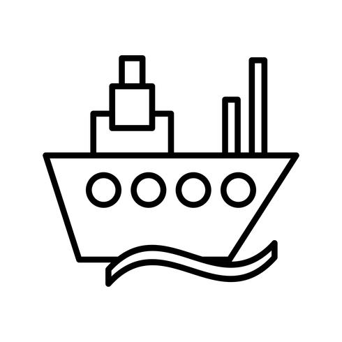 Icona nera della nave vettore