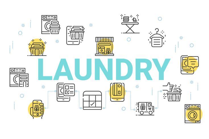 Priorità bassa di concetto di lavanderia, linea sottile icone set per carta da parati e sfondo. vettore