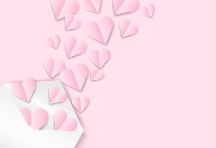 Felice giorno di San Valentino sfondo. Progettare con amore cuore su sfondo rosa, stile arte di carta. Vettore. vettore