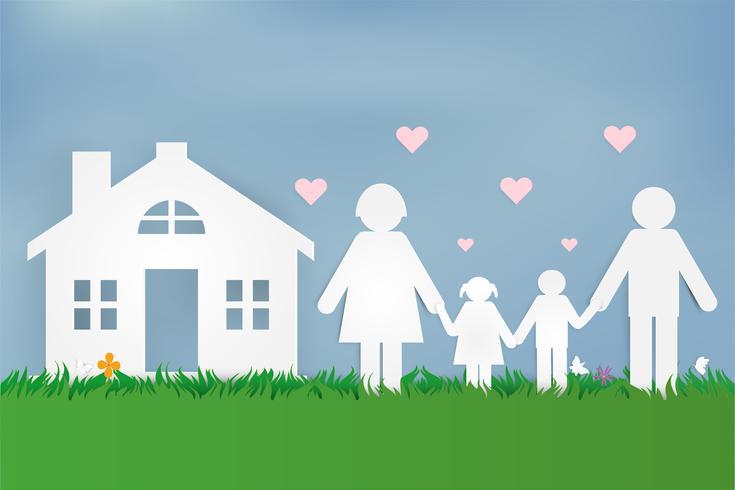 Happy Love Family. Felice festa dei genitori con padre, madre e figli. Design di arte della carta. vettore