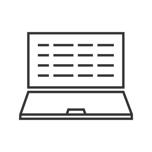 Scrittura del computer portatile icona linea nera vettore