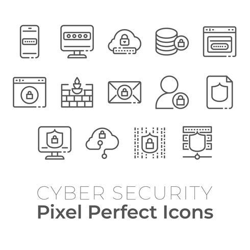 Set di icone di tecnologia Cyber Security. Icona perfetta pixel vettore