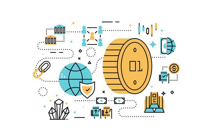 Bitcoin e illustrazione di finanza vettore