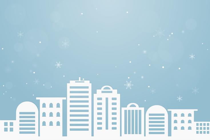 Sfondo astratto Buon Natale e Felice Anno nuovo. Neve di vacanza invernale al paesaggio urbano urbano. arte cartacea e stile artigianale. vettore