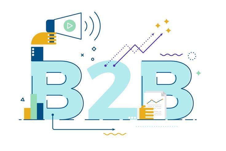 B2B: Business to business, illustrazione di parole vettore