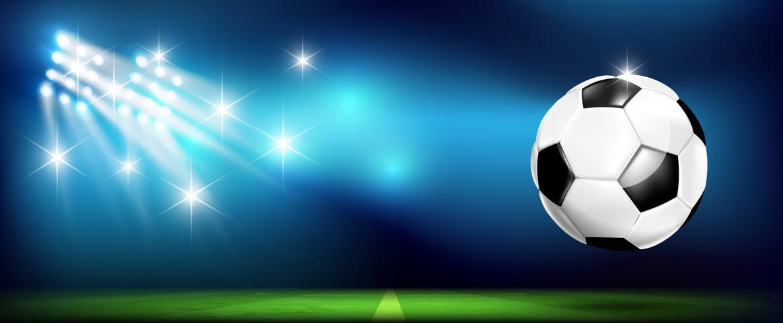 Pallone da calcio con stadio e illuminazione 002 vettore