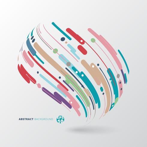 Estratto di stile moderno con composizione fatta di varie linee di avvolgimento cerchio forme arrotondate 3d in colorato. vettore