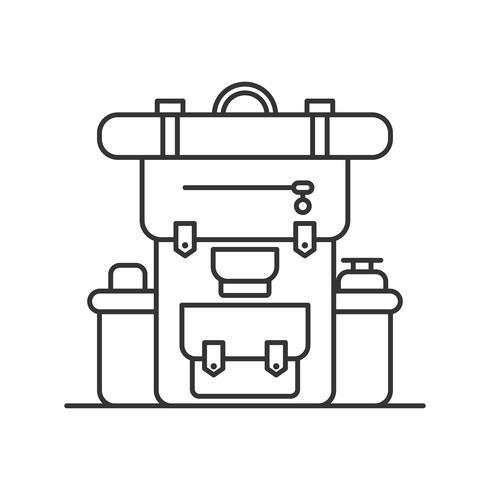 Linea sottile segni di zaino e viaggi turismo Logo vettoriale. Icone di contorno del campeggio per il web design o applicazione mobile. vettore