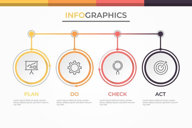 Modello di business moderno infografica 3D con 4 passaggi, opzioni o processi. Swot analisi infografica. vettore