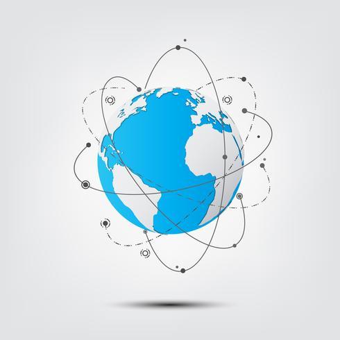 Tecnologia astratto. Connessioni di rete globale con punti e linee sulla mappa globo terrestre. vettore