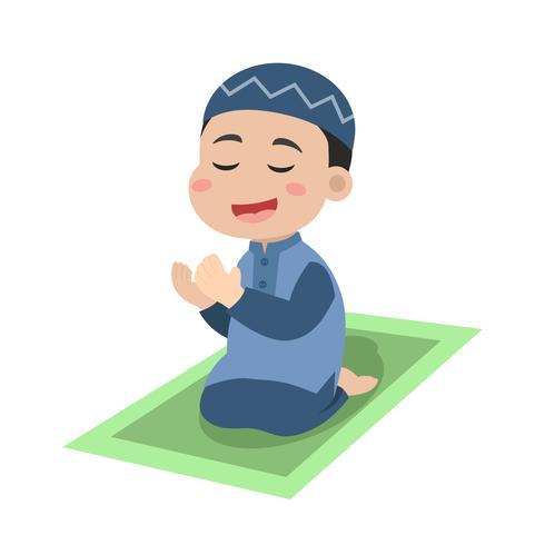 Ragazzino che prega ad Allah vettore