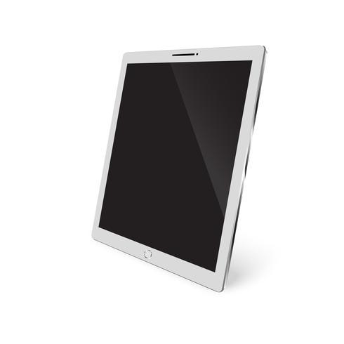Vettore 3d isometrico Smartphone o tablet isolato su priorità bassa bianca. Compressa bianca di VectMockup con lo schermo di tocco in bianco isolato su progettazione bianca di vettore