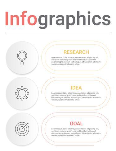 Diagramma di infografica con 3 passaggi, opzioni o processi. Modello di business di vettore per la presentazione. visualizzazione dei dati aziendali.