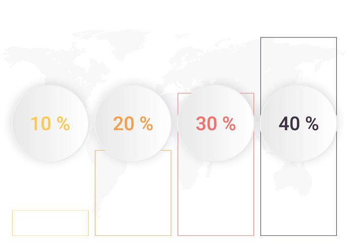 Diagramma di infografica con 4 passaggi Crescita o processi. Modello di business di vettore per la presentazione. visualizzazione dei dati aziendali.