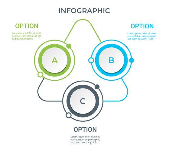 Infografica aziendale. Diagramma con 3 passaggi, opzioni o processi. Modello di infografica per la presentazione. vettore