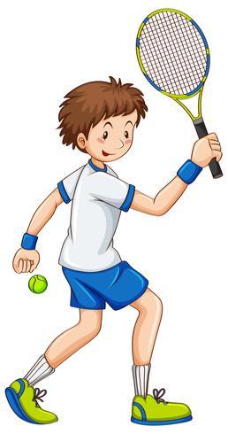 Tennis che colpisce palla con la racchetta vettore