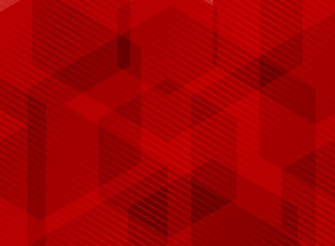 Esagoni geometrici astratti che si sovrappongono alla priorità bassa rossa con il reticolo di righe a strisce. È possibile utilizzare per brochure, presentazione, poster, depliant, flyer, stampa, pubblicità, banner, sito web. vettore