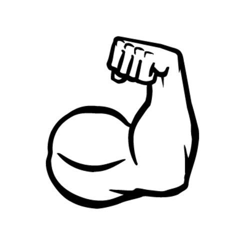 Icona di vettore del braccio di bicipite flex, posa muscolare del culturista