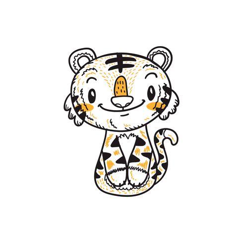 vettore sveglio di scarabocchio del fumetto della piccola tigre