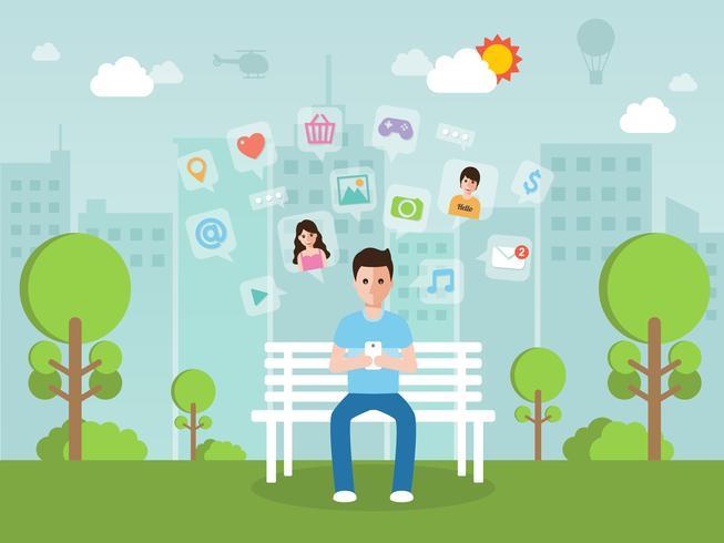 Giovane che chiacchiera online sul social network con lo smartphone. vettore