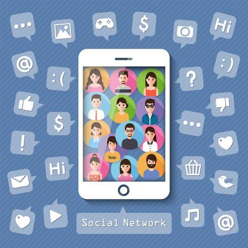 Connettere le persone tramite social network. vettore
