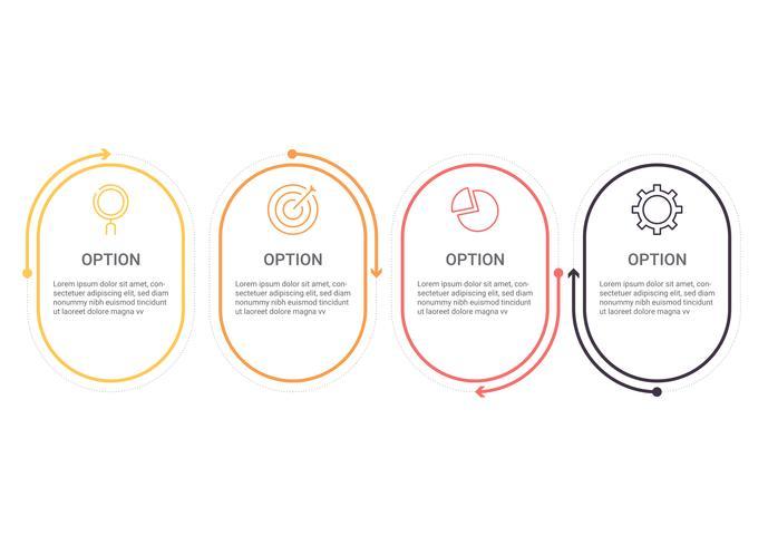 Diagramma di infografica con 4 passaggi, opzioni o processi. Modello di business di vettore per la presentazione. visualizzazione dei dati aziendali.
