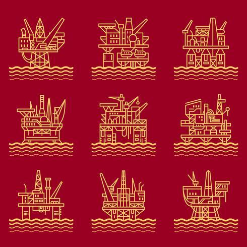 Set di icone della piattaforma petrolifera. vettore