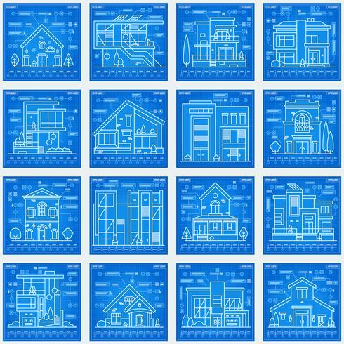 Stampa blu di case vettore