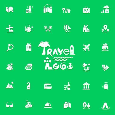 Logo e icone di viaggio vettore