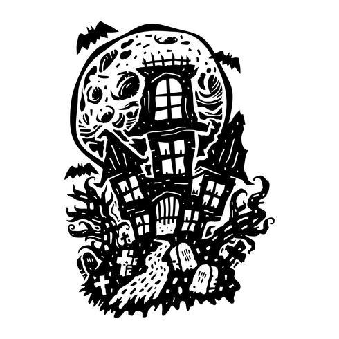 casa stregata di Halloween vettore