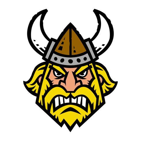 Illustrazione vettoriale di un cartone animato viking con un casco e una barba cornuta