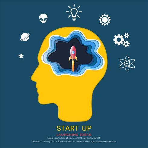 Concetto di educazione e apprendimento, cervello pensando a un lancio spaziale razzo volante, sopra la sua testa è un cappello di laurea e icone della conoscenza. vettore