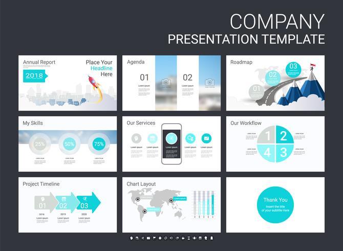 Modello di diapositiva di presentazione per la tua azienda con elementi infographic. vettore