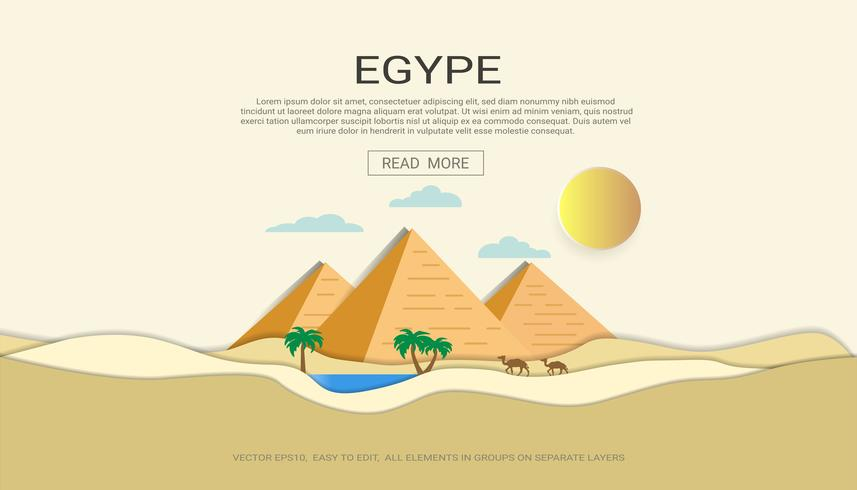 Concetto orizzontale dell'insegna del deserto della piramide dell'Egitto. vettore