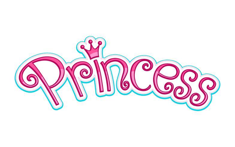 Pink Girly Princess Logo Text Graphic Con corona vettore