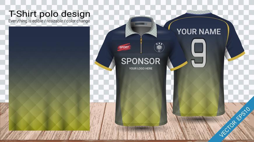 T-shirt polo con cerniera, modello mockup di Soccer jersey sport per kit calcio o divisa activewear. vettore