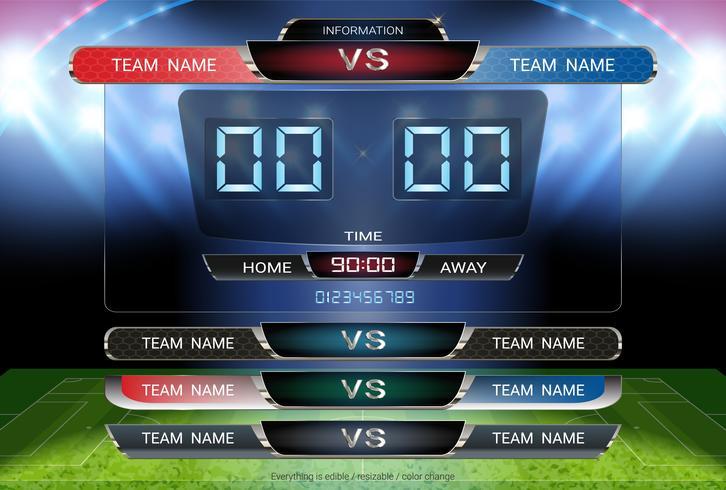 Quadro dei tempi digitale e modello dei terzi inferiori, squadra di calcio o di calcio A contro squadra B. vettore