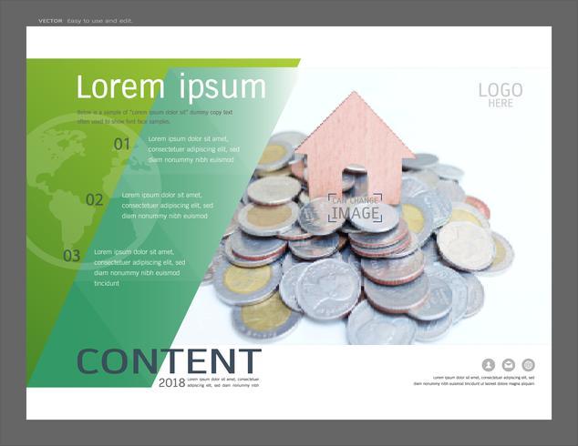 Modello di progettazione di layout di presentazione per affari o finanza e investimenti. vettore