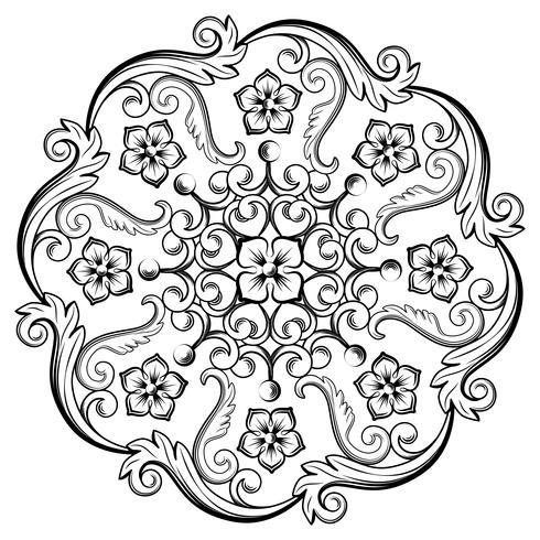 Bello elemento ornamentale rotondo per il design nei colori bianco e nero. Illustrazione vettoriale