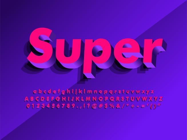 Carattere tipografico di manifesto di alfabeto moderno 3d vettore