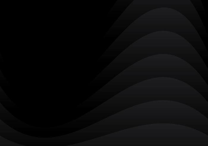 Disegno di strato di sovrapposizione curvo nero astratto su stile di carta sfondo scuro. vettore