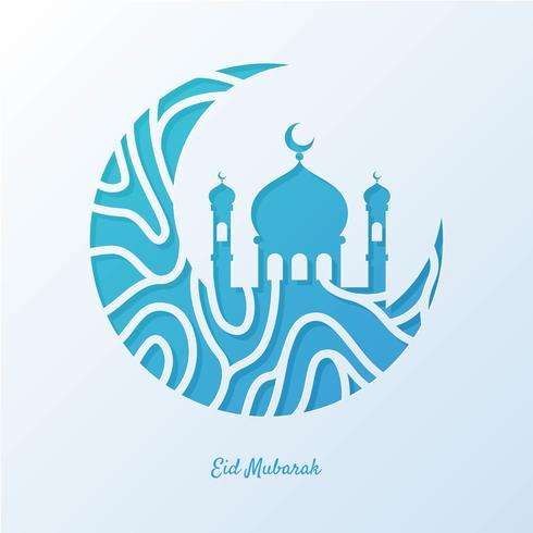 Illustrazione di cartolina d'auguri di Eid Mubarak vettore