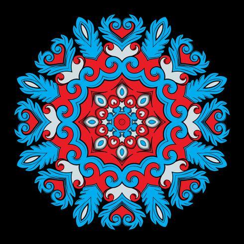 Luminoso tondo elemento ornamentale per il design nei colori rosso e blu. vettore