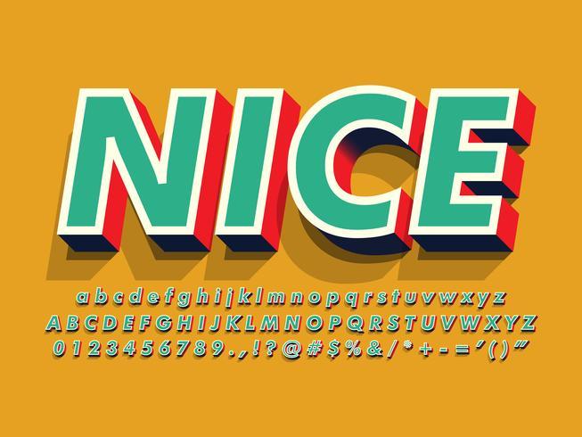 Retro alfabeto 3d vintage per elemento di design di segno vettore