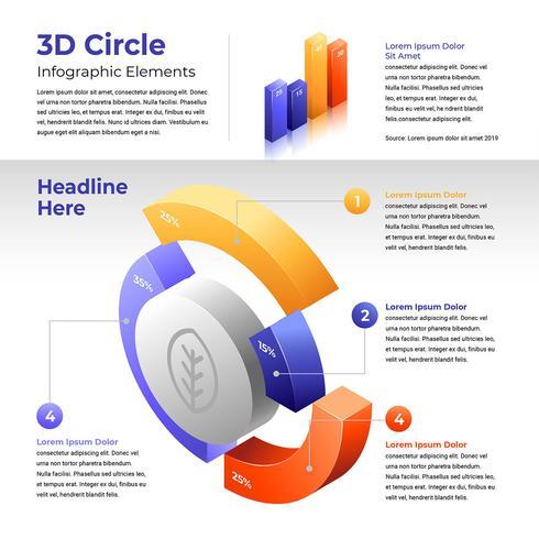 La parte del cerchio 3D affetta gli elementi di Infographic vettore