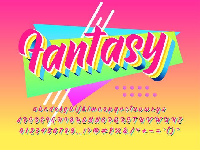 Fantasia futuristica effetto caratteri anni '90 vettore
