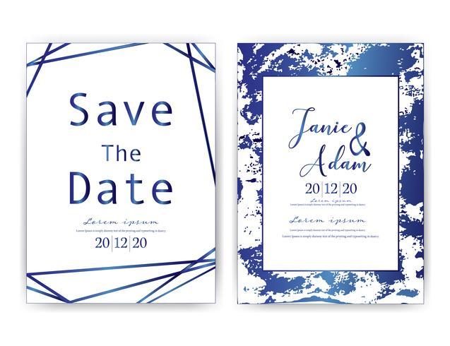 La carta dell'invito di nozze, conserva la partecipazione di nozze della data, progettazione di carta moderna con il colpo dorato della spazzola e geometrica, illustrazione di vettore. vettore