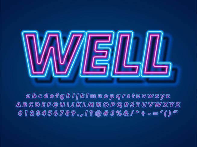 Effetto di testo al neon di pop 3d vettore